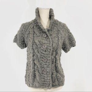 Vivian's Tam Chunky Short Sleeve Sweater In Grey